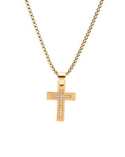 Accessories - 18K Gold Plated Diamond Cross Pendant Necklace-2434745