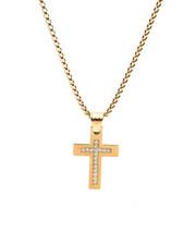 Men - 18K Gold Plated Diamond Cross Pendant Necklace-2434745