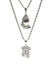 Accessories - Prayer Hands & Jesus Double Layered Necklace-2434740