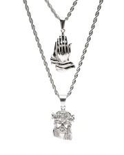 Men - Prayer Hands & Jesus Double Layered Necklace-2434740