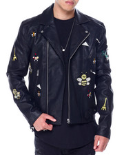 Leather Jackets - PU EMBELLISHED MOTO JACKET-2435942