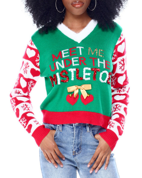 Fashion Lab - Mistletoe Crop Christmas Hooded Pullover