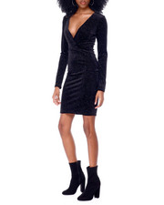 Fashion Lab - Long Sleeve Surplus Glittered Velvet Mini Dress-2436630