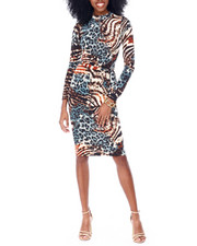 Fashion Lab - Long Sleeve Multi Animal Printed Midi Dress-2436578