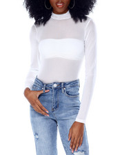 Fashion Lab - Long Sleeve Mock Neck Mesh Bodysuit-2436590