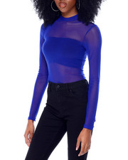 Fashion Lab - Long Sleeve Mock Neck Mesh Bodysuit-2436634