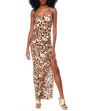 Fashion Lab - Spaghetti Strap Leopard Print Ruched Dress With Side Slit-2436586
