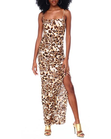 Fashion Lab - Spaghetti Strap Leopard Print Ruched Dress With Side Slit