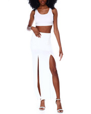 Bottoms - Long Skirt With Double Slit Front-2436618