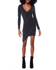 Fashion Lab - Long Sleeved Surplus Asymmetrical Hem Dress With Pleats Side Seam-2436638