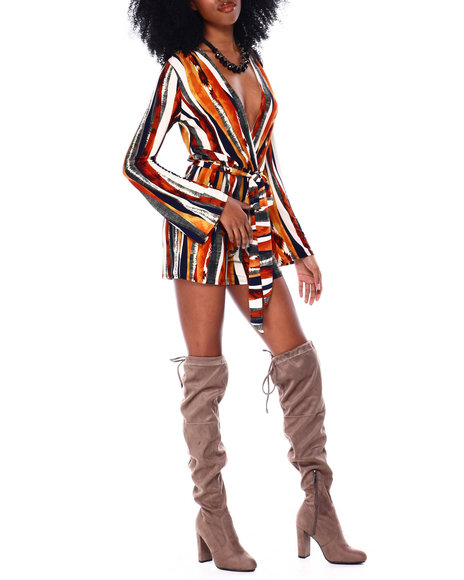 Fashion Lab - Long Sleeved Printed Romper With Self Belt