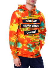 offbeat - TAPE NEWSPRINT TIE DYE HOODIE-2437143