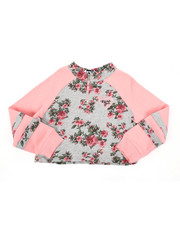 Girls - Felicity Raglan Half Zip Crop Top (4-6X)-2436381