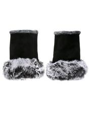 Gloves & Scarves - Fingerless Gloves W/ Faux Fur Trim-2438418