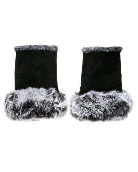 Fashion Lab - Fingerless Gloves W/ Faux Fur Trim