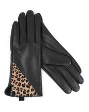 Fashion Lab - Faux Leather Gloves W/ Leopard Accent -2438443