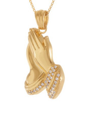 King Ice - 14K Gold Micro Praying Hands Necklace-2440590