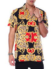 Mens-Holiday - Animal Print Filigree SS Woven Shirt-2440720
