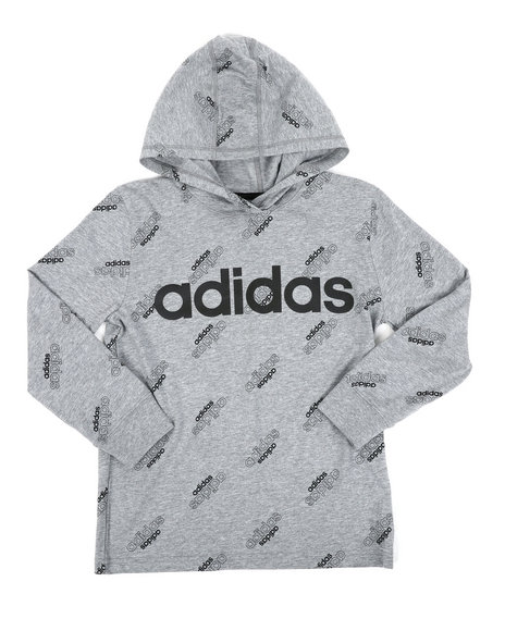 Adidas - Long Sleeve Hooded Ht Print Linear Tee (8-20)