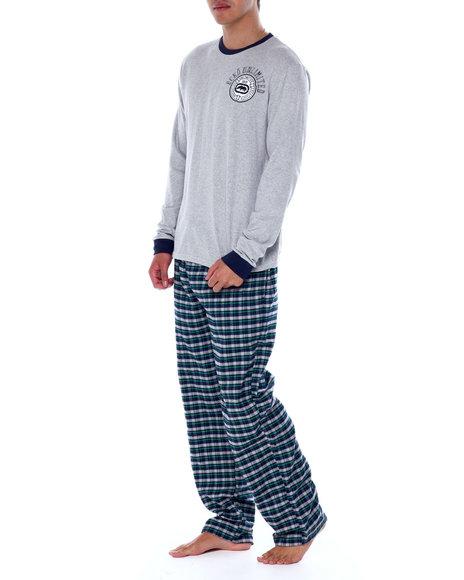 Ecko - 2 Piece Long Sleeve Knit Henley & Flannel Pant