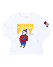 Born Fly - Long Sleeve Chenille Patch Tee (2T-4T)-2435672