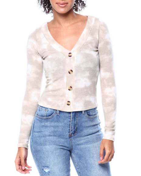 Fashion Lab - Tie Dye V-Neck Button Down Detail Cardigan Sweater