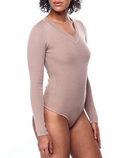Fashion Lab - L/S Ribbed V Neck Bodysuit-2441100