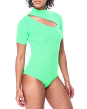 Fashion Lab - S/S Mock Neck Cut Out Front Ribbed Bodysuit-2441081