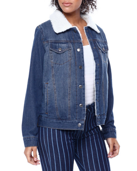 Fashion Lab - Sherpa Lined Denim Trucker Jacket