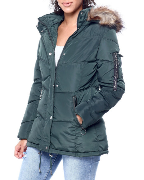 Kendall & Kylie - Faux Fur Trim Hooded Puffer Jacket