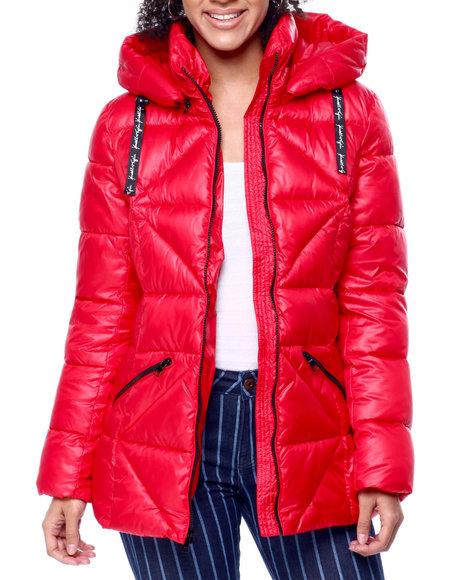 Kendall & Kylie - Shiny Vinyl Hooded Puffer Jacket