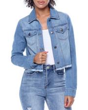 Denim Jackets - Cropped Raw Edge Denim Jacket-2442075