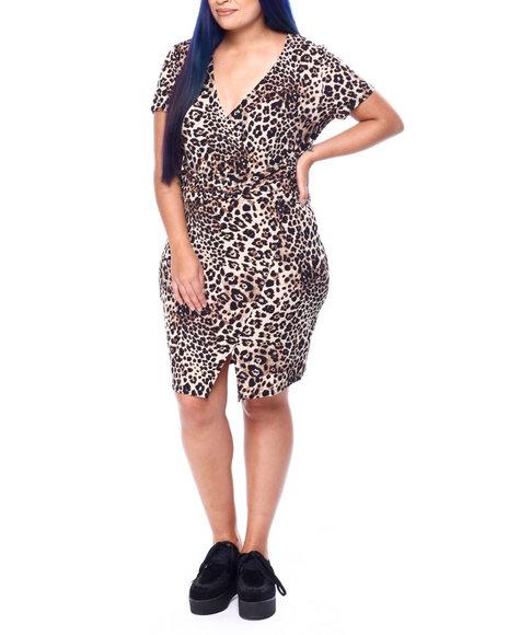 DEREK HEART - Cap Sleeve Wrap Dress W/Shirred W/B Detail & Covered Buckle (Plus)