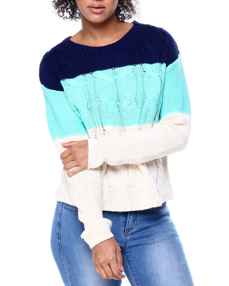 Fashion Lab - Colorblock Cable Knit L/S Sweater