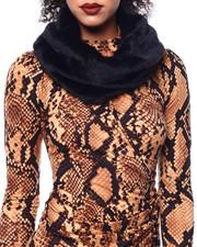 Fashion Lab - Faux Mink Fur Infinity Scarf-2438619