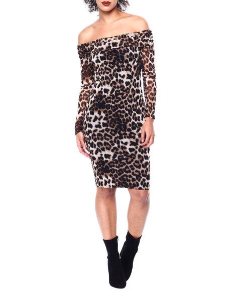 Fashion Lab - Off Shoulder Animal Print Midi Dress