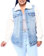 Outerwear - Sherpa Sleeve/Collar Denim Jacket (Plus)-2442090