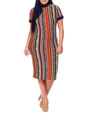 DEREK HEART - S/S Body Con Dress W/Contrast Rib Mock Neck & Sleeve Cuff (Plus)-2441615