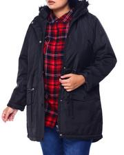 Outerwear - Puffer Anorak Jacket W/Faux Fur Trim Hood (Plus)-2442071