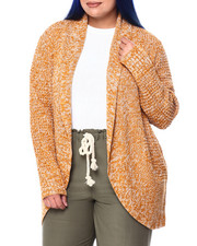 Plus Size - Cocoon 3 Color Winding Twist Marl Open Cardigan (Plus)-2442022