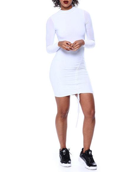 Fashion Lab - Mock Neck L/S Ruched Drawstring Front Dress