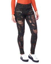 Fashion Lab - Destructed Zipper Pockets Skinny Jean-2438048