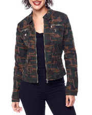 Outerwear - Distressed Camo Zipper Pocket Denim Jacket-2439412