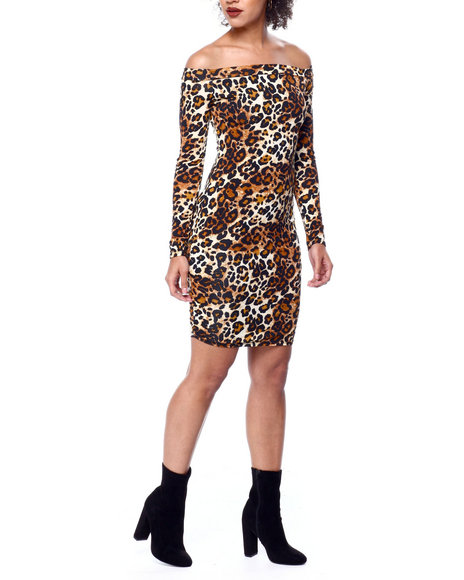 Fashion Lab - Animal Print L/S Off Shoulder Lace Up Back Dress