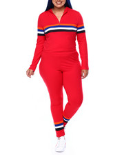 Sets - Jersey Placement Stripe Half Zip Hoodie & Legging Set (Plus)-2441629
