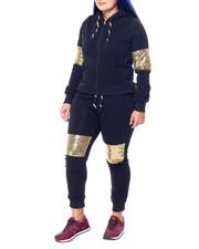 Sets - Sequin Detail Zip Hoodie & Jogger (Plus)-2441759