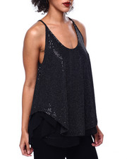 Tanks, Tubes & Camis - Sequins Spagh Strap Mesh Lined Top-2441141