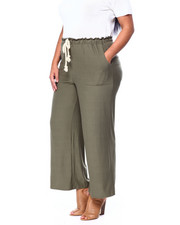 DEREK HEART - Brushed Jersey Paper Bag Palazzo Pant w/ Porkchop Pockets-2442117