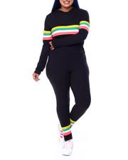 Sets - Jersey Placement Stripe Half Zip Hoodie & Legging Set (Plus)-2441611