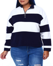 DEREK HEART - Polar Fleece Stripe Mock Neck Pullover W/Half Zip (Plus)-2441598